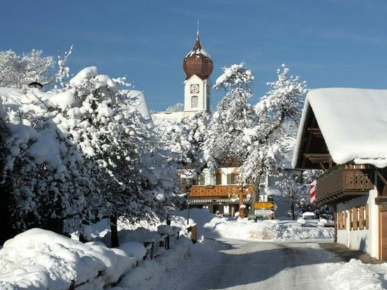 Grainau, Bavaria, Germany. It is located at the foot of the Zugspitze mountain, the tallest mountain in Germany in the sub-mountain range