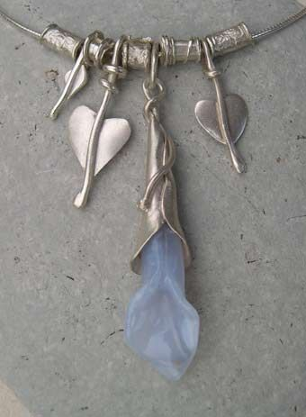 Chalcedony and silver necklace  http://www.silverandstone.co.uk/html/blue_chalcedony_necklace_.html  #HandmadeNecklaces