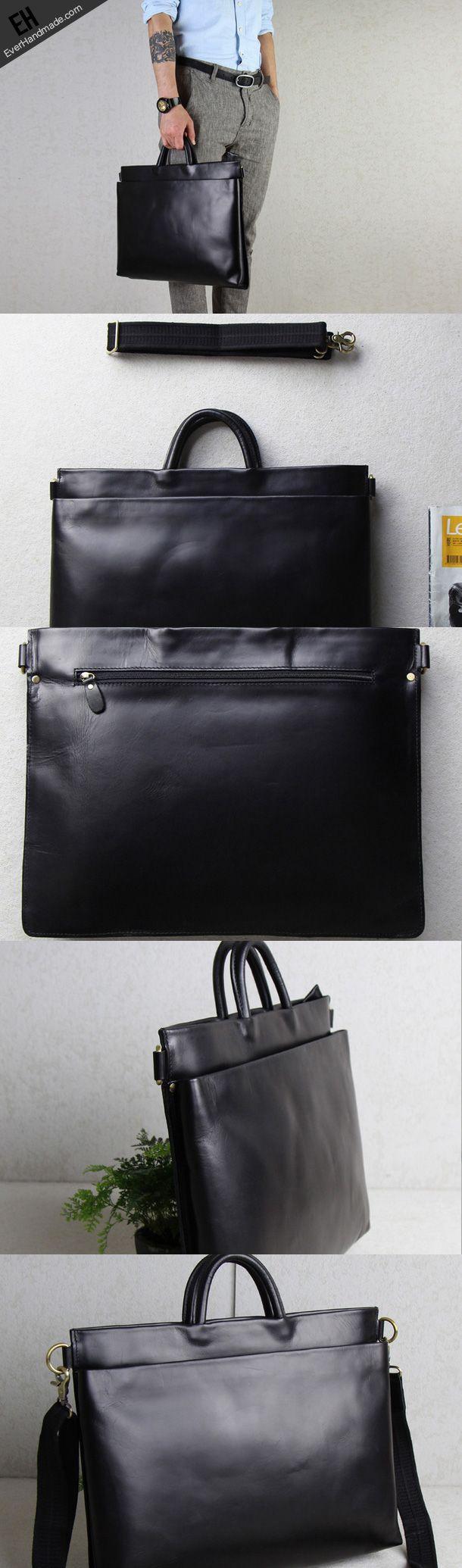 Handmade leather men Briefcase messenger black shoulder laptop bag vintage bag