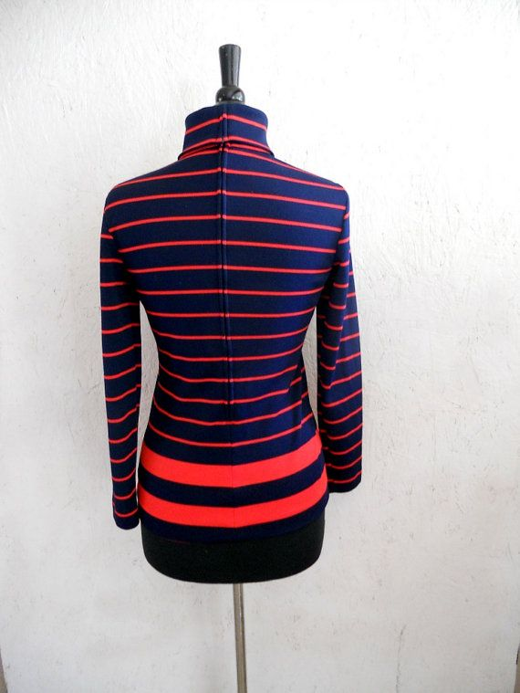ON SALE 60s 70s Nautical Top / Striped Fitted by freshlavender, $21.75