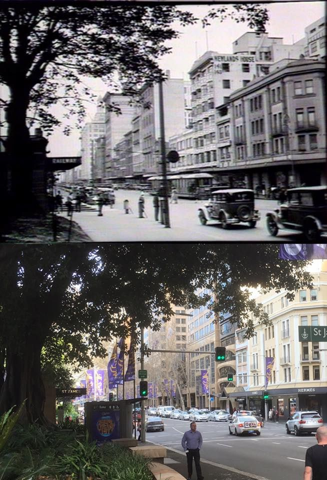 Looking south down Elizabeth Street, Sydney from the corner of St James Road in 1931 > 2016. [1931 - State Library of NSW>2016 - Phil Harvey. By Phil Harvey]