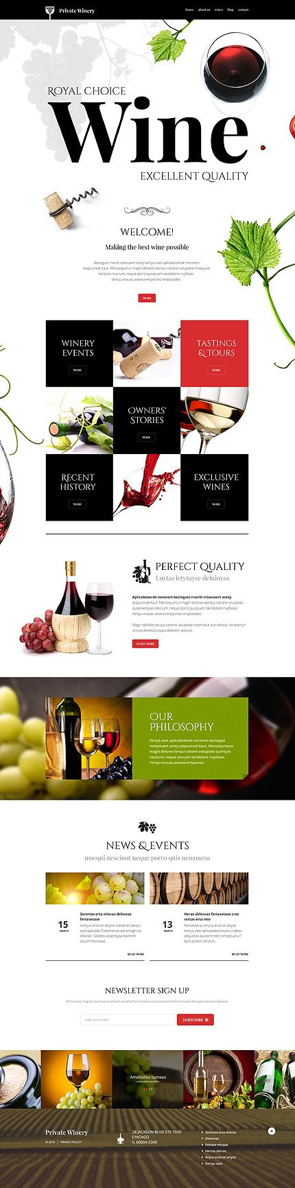 Template 54789 - Wine Blog Responsive WordPress Theme