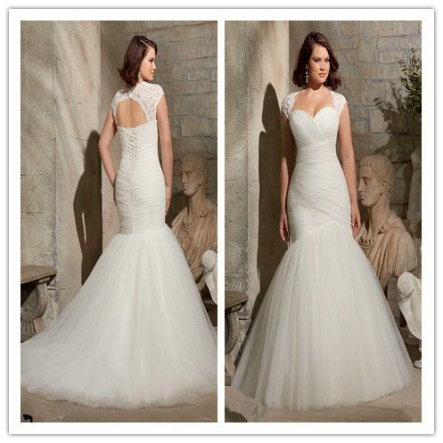 2017  Mermaid Wedding Dresses sexy Sweetheart Chapel Train Lace Applique Lace Up Backless Pleated Wedding Gowns Plus Size