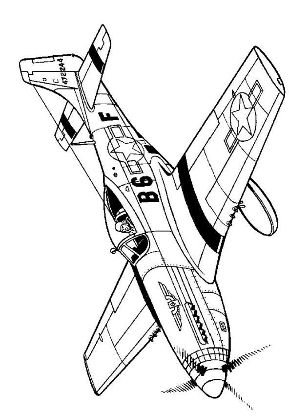 46 coloring pages of WWII Aircrafts on Kids-n-Fun.co.uk