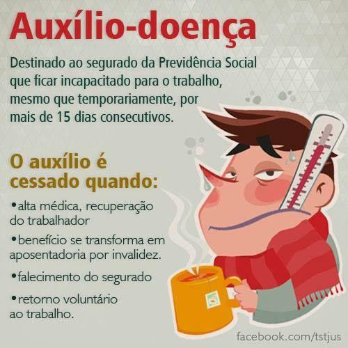 O auxílio-doença é o benefício concedido ao trabalhador que está incapacitado para o trabalho, mesmo que temporariamente, por motivo de doença por mais de 15 dias consecutivos.