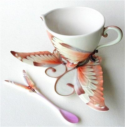 Butterfly Fantasy Cup and Saucer with Spoon