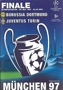 B Dortmund 3 Juventus 1 in May 1997 in Munich. Programme cover for the Champions League Final.