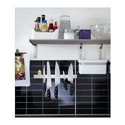IKEA - GRUNDTAL, Magnetic knife rack, The knife rack makes it easy for you to see and reach all your different knives when you cook.Magnetic knife racks preserve the edges on your knives since they don't scrape together in a drawer.Adds a decorative touch to your kitchen.