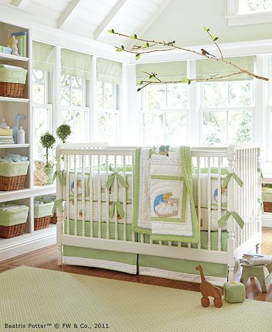 Green nursery room from Pottery barn- Oh my goodness, it's Beatrix Potter!