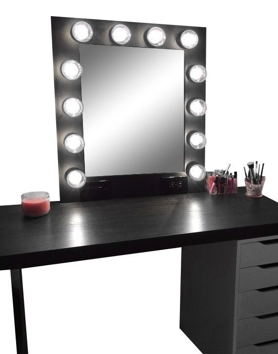 Hollywood vanity makeup mirror with lights built in for Black makeup table with mirror
