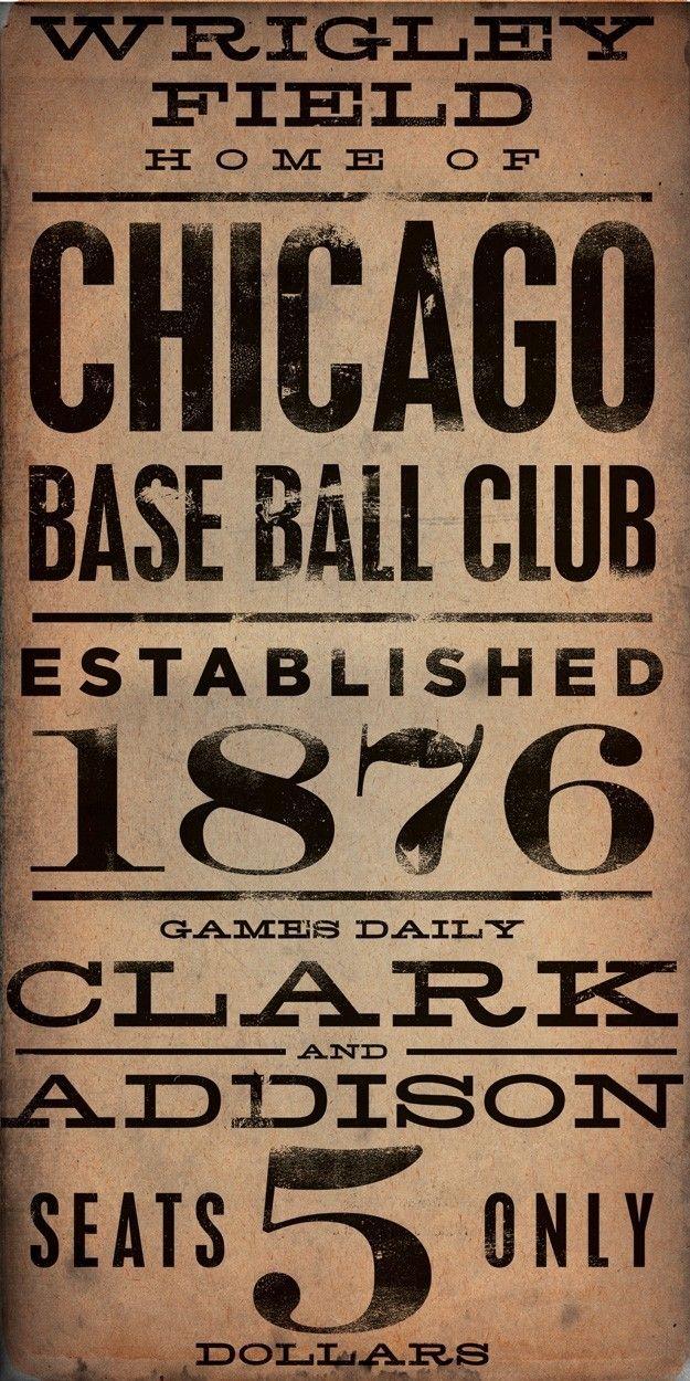 Wrigley Field Chicago Cubs Baseball vintage style typography art on canvas 10 x 20 by Gemini Studio Art.via Etsy.
