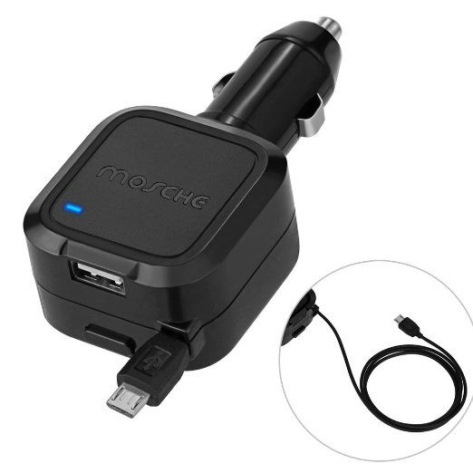 Car Charger, Mosche Retractable Micro USB Cable Car Charger Charges Quickly in the Car with 5.6A USB for Samsung Galaxy S6/ S6 Edge (Black)., 2016 Amazon Top Rated Accessories & Supplies  #Electronics