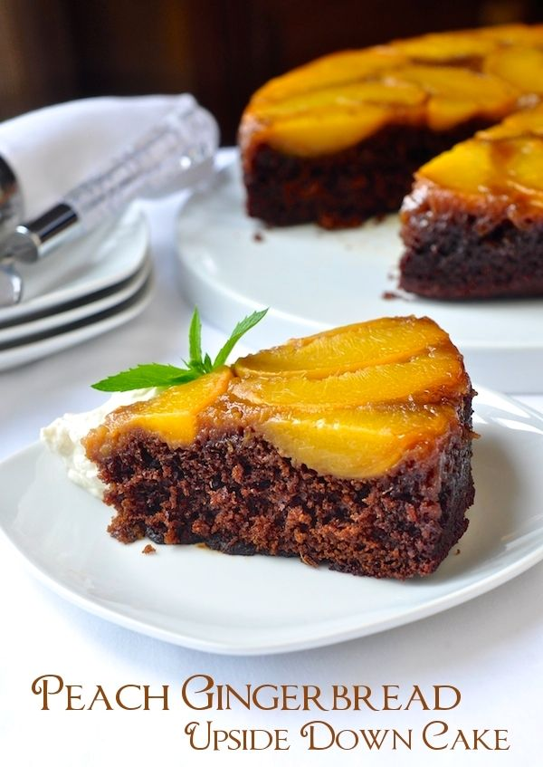 Peach Gingerbread Upside Down Cake - one of the most unexpectedly delicious dessert flavor combinations I have ever discovered is peach and ginger. This elegant upside down cake marries them together beautifully.
