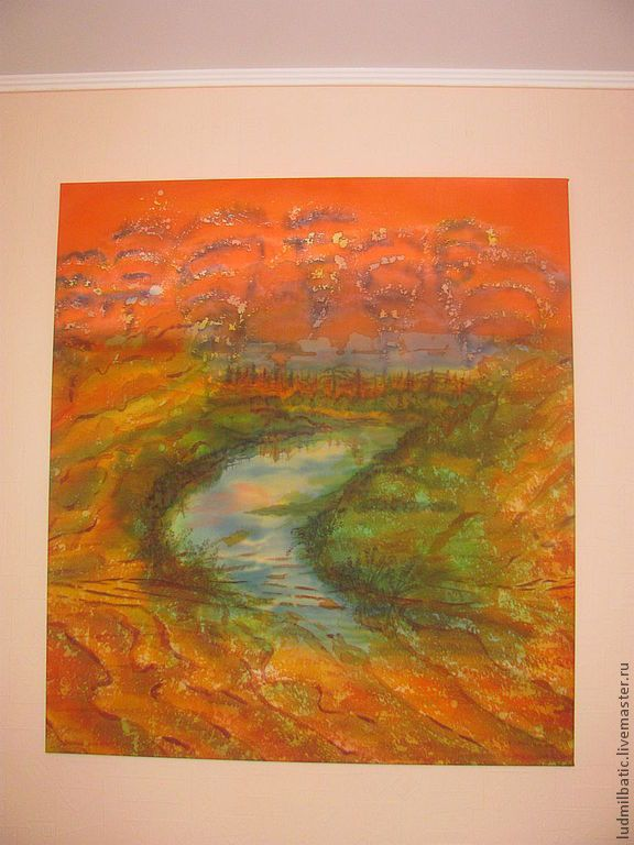 Купить Оазис - рыжий, оранжевый, Батик, батик картина, оазис, пейзаж, природа, шелк натуральный