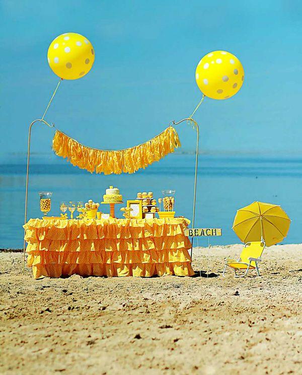 Beachy Yellow Polka Dot Bikini Party