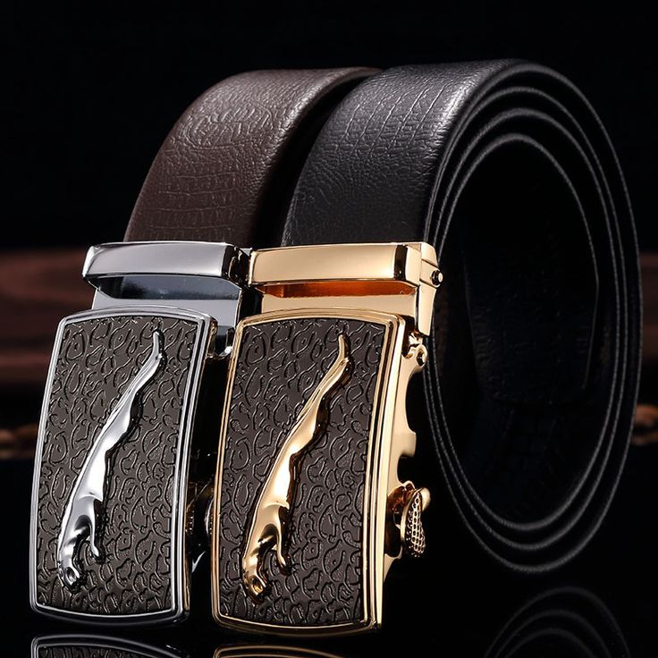 Men Jaguar Belt Genuine Leather Automatic Buckle Belt Designer Belts Mens Luxury Belts High Quality Male ceinture homme PD029
