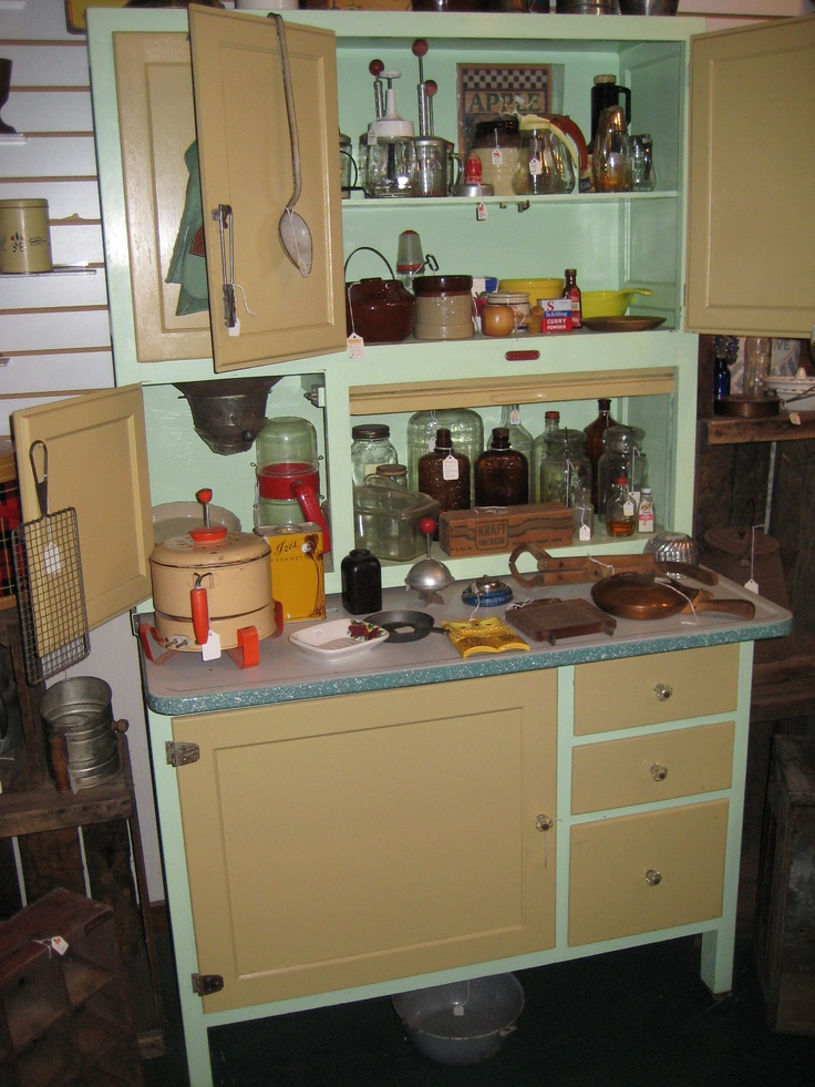 980 best images about antique hoosier cabinets and for Antique kitchen cabinets with flour sifter