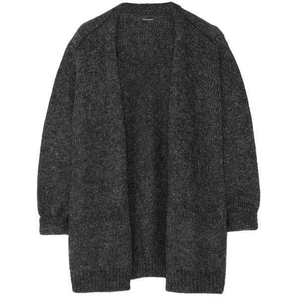 Isabel Marant Tagus metallic knitted cardigan ($402) ❤ liked on Polyvore featuring tops, cardigans, black, black metallic top, metallic cardigan, cardigan top, metallic top and black top