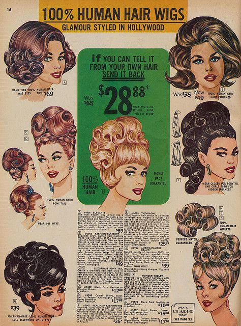 "Spring 1966 Frederick's of Hollywood wig catalogue (I want my hair to look like figure ""F"")"