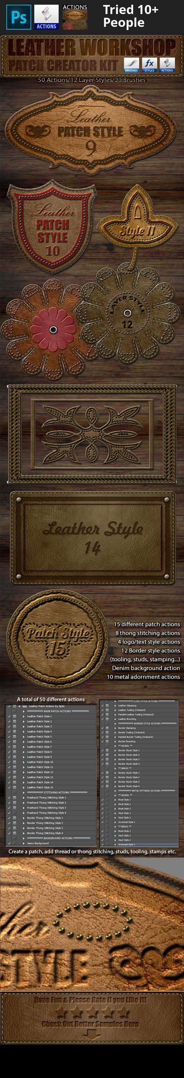 action, art, border, brush, clip, craft, creator, denim, distort, easy, edit, editable, frame, leather, logo, maker, manual, patch, pattern, photoshop, sew, sewing, shadow, stitch, stitched, stitching, style, suede, text Choose a custom shape and create a leather patch using one of 15 leather style actions, then use the other actions to stitch it using thong or thread, add stud designs, enter your text/logo with a stamped, tooled, painted or branded effect.   Features:  2000×1200 px. ...