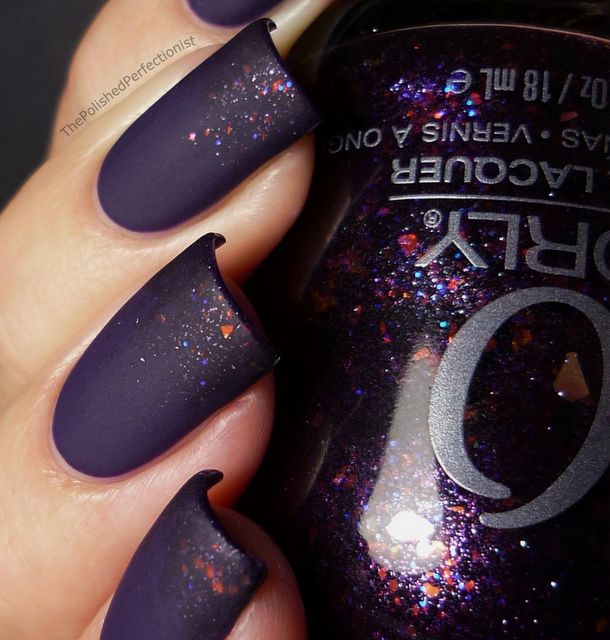 Two coats of Diamond Cosmetics - Crushed Velvet, sponged the tips of my nails with Fowl Play from Orly, then matte topcoat (by the polished perfectionist) #nail_art #nails #nail #nail_polish #manicure