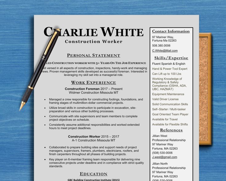 Construction worker carpenterslaborers one page resume