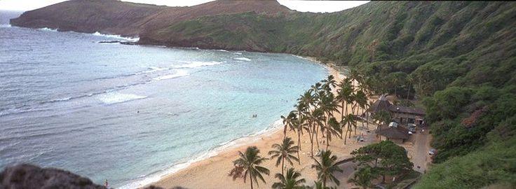 Hanauma Bay - Hawaii sull'isola di Ohau ...........è un acquario naturale si può fare snorkelling per entrare devi pagare e ci sono custodi che controllano che i turisti non camminino sulla barriera corallina. è un vulcano in cui è entrata acqua . dalla spiaggia si  vedono gli spruzzi delle balene (era febbraio  ). In quest'isola hawaiana ci sono altre spiagge degne di nota :.....  1  waimea bay,  2 makapuu beach,  3 banzai pipeline (regno dei surfisti espertissimi)