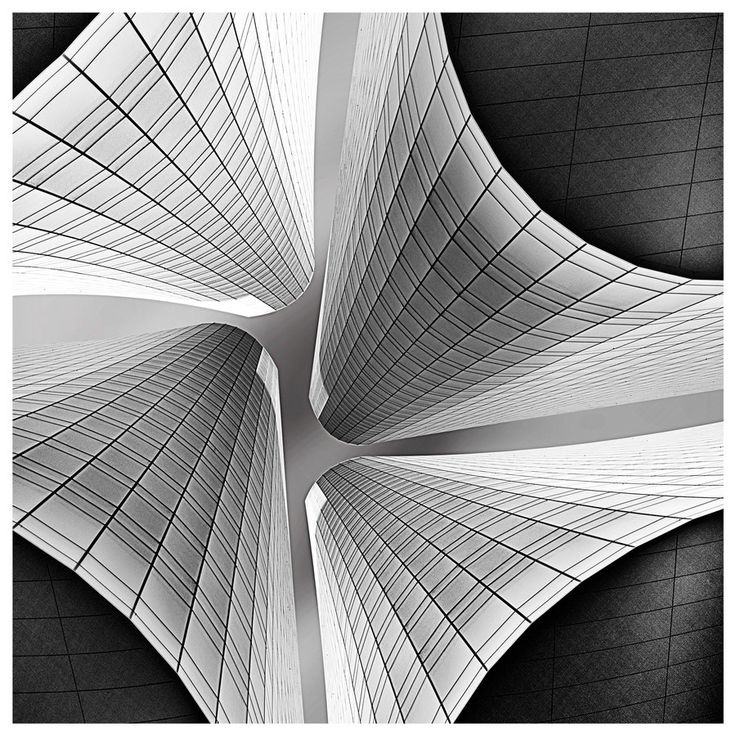 Visions of the Future // Charlotte Skyline.  Abstract black and white architectural photography by Marie Otero.