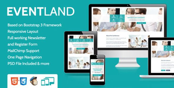 EventLand  	                If you like this theme, please do not forget to rate it!   	EventLand Landing Page is a single fully responsive HTML5 theme. This Theme is the perfect showcase for your Event, C...