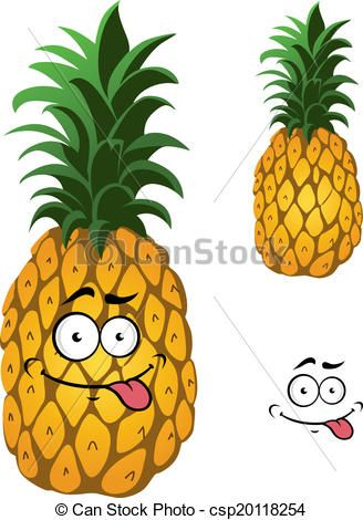 dessin ananas rigolo | Clipart Vector of Cartoon pineapple fruit isolated on white background ...