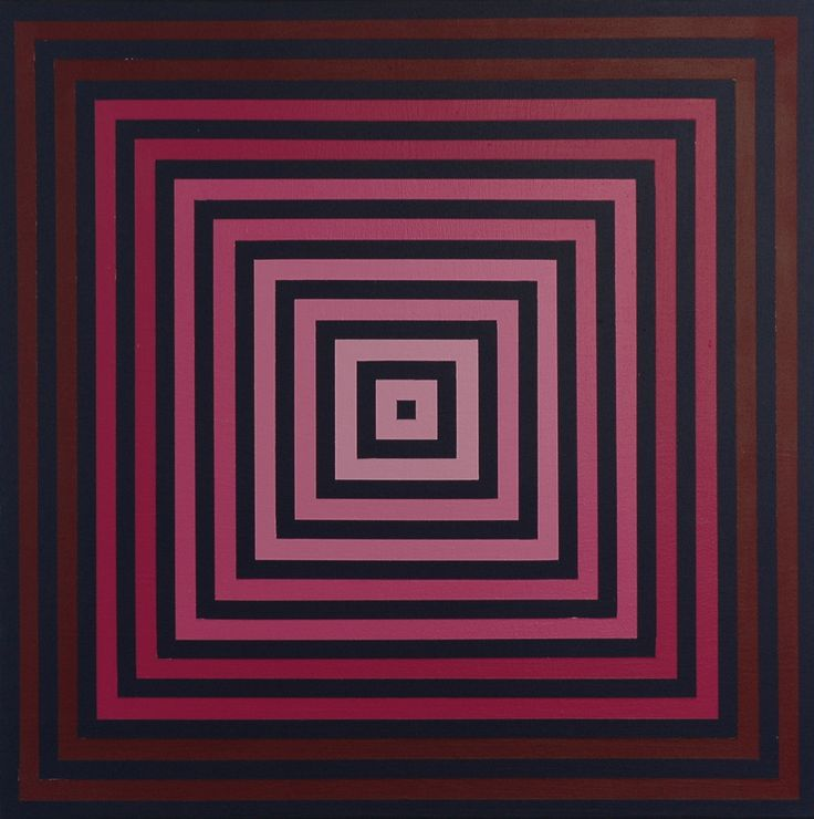 Transcolor - Deep Crimson On Blue, 2012, Acrylic On Board, 30 x 30 in. - Richard Anuszkiewicz