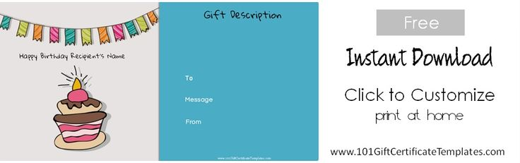 Birthday Gift Certificate Templates - 101 Gift Certificate Templates