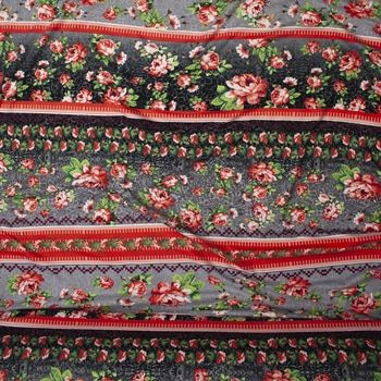 721cf116e2a Grey and Coral Floral Boho Stripe Double Brushed Poly Spandex Print Fabric  By The Yard - Wide shot