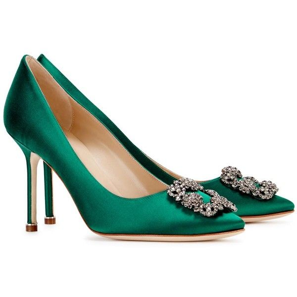 Manolo Blahnik Hangisi 90 Emerald Satin Pumps (13.430 ARS) ❤ liked on  Polyvore featuring