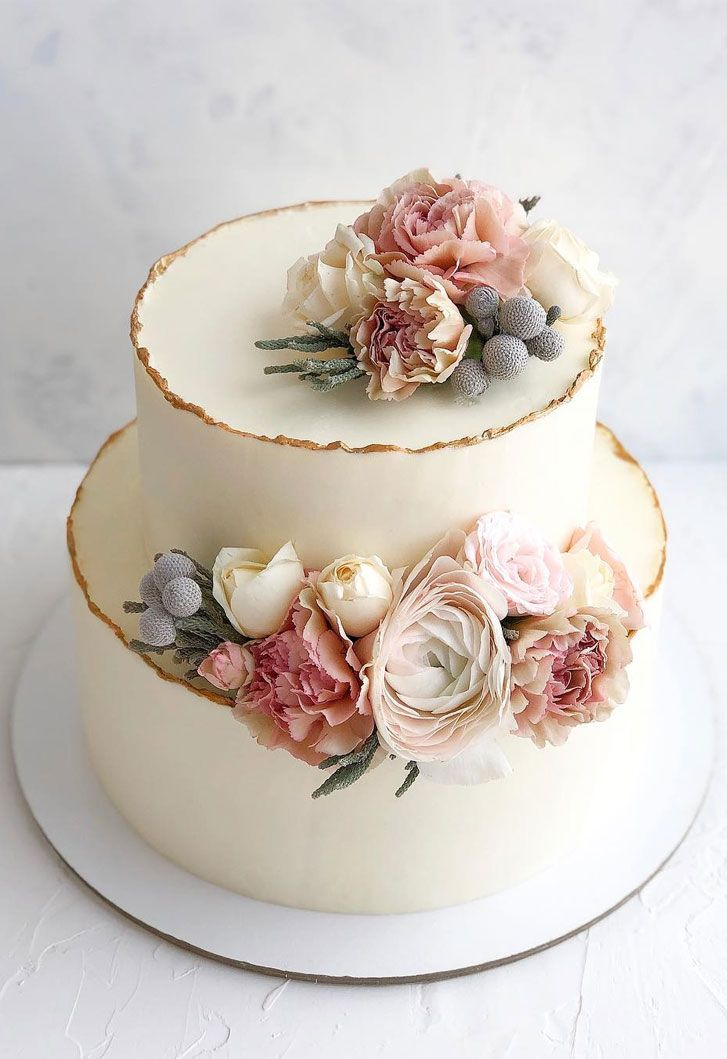 32 Jaw-Dropping Pretty Wedding Cake Ideas – Two tier white wedding cake adorned …  – cake