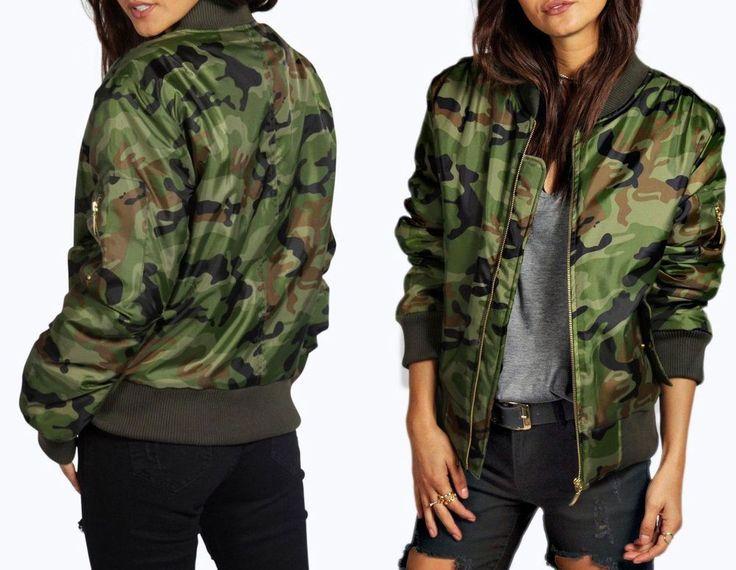 NEU Damen Camouflage Bomberjacke Jacke Militär Army Fliegerjacke Retro Armee
