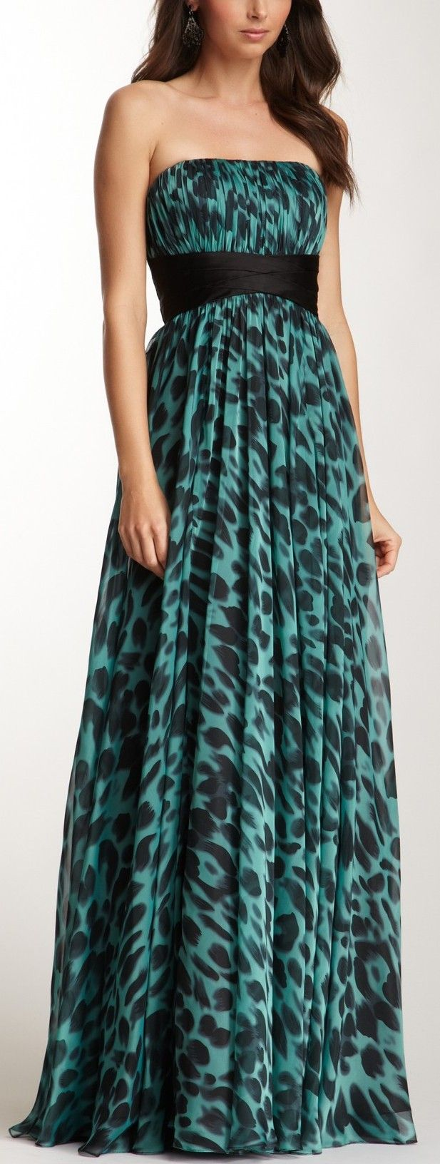 Long Strapless Graphic Print Sheer Gown
