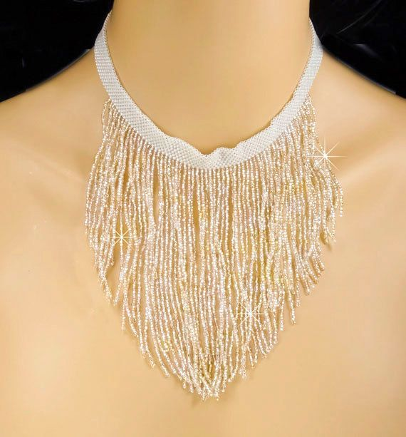Fringe Bridal Choker Statement Piece by PixieDustFineries on Etsy