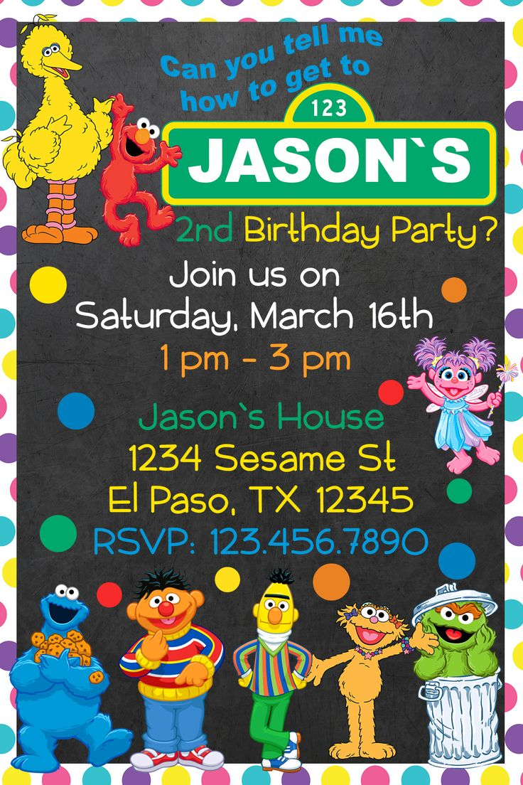 The 25 best Sesame street birthday invitations ideas – Sesame Street Party Invitations