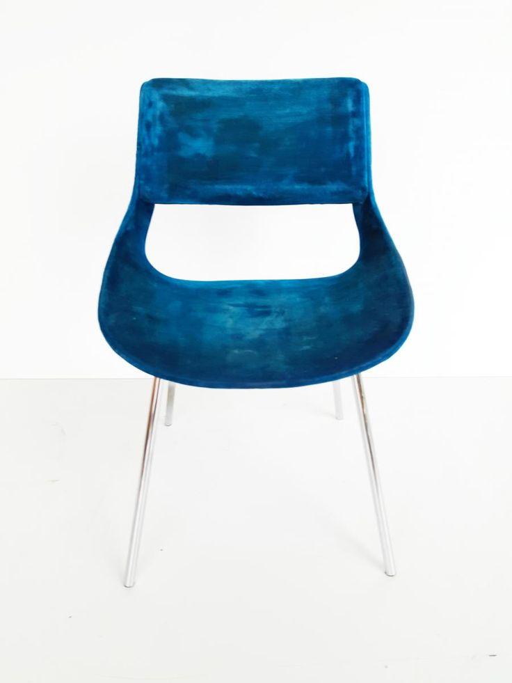 Italian Blue Velvet Chair, 1960s 1