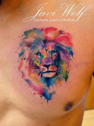Watercolor Lion by Javi Wolf