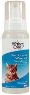 8in1 Perfect Coat Shed Foaming Waterless Shampoo 8.5 Oz (Bottle). Perfect Coat Shed Control Foaming Waterless Shampoo for Cats 8.5 fl oz Provides easy, no-rinse option; massage foam into coat and wipe clean Foaming pump creates a silky texture. Non-greasy and no build up. Controls excess shedding Great for senior, difficult-to-bathe or injured pets Long Lasting Coconut Aloe Scent Royal Item Number: CEOP82690