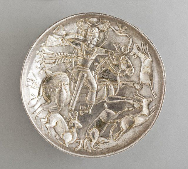 Silver gilt plate depicting Sassanid king during hunting,circa 500-600 A.D.