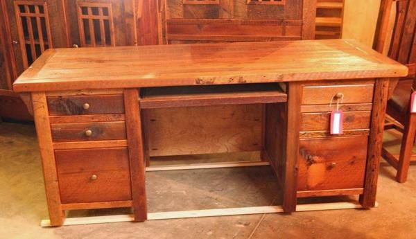 Reclaimed Wood Rustic Home Office: This Rustic Reclaimed Barn Wood Desk Combines Two Deep