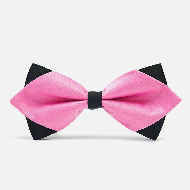 Pink Diamond-Tip Tuxedo Bow Tie: There is no doubt that pink will immediately make you the center of attention, especially when paired with a similarly exquisite pink pocket square. bowselectie.com