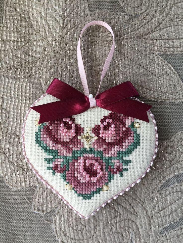 Finished Cross Stitch Ornament Just Nan Love Roses Valentine Heart Love | eBay