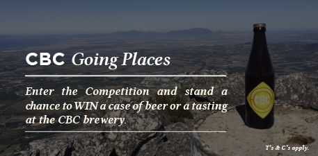 Have you entered the #CBCgoingplaces Competition yet? Take a photo of a CBC #craftbeer with a clearly identifiable view, upload it onto the CBC Facebook page or Tweet it to @CapeBrewingCo with the hashtag #CBCgoingplaces and stand a chance to WIN a case of CBC Craft Beer! http://capebrewing.co.za/cbc-going-places-competition/