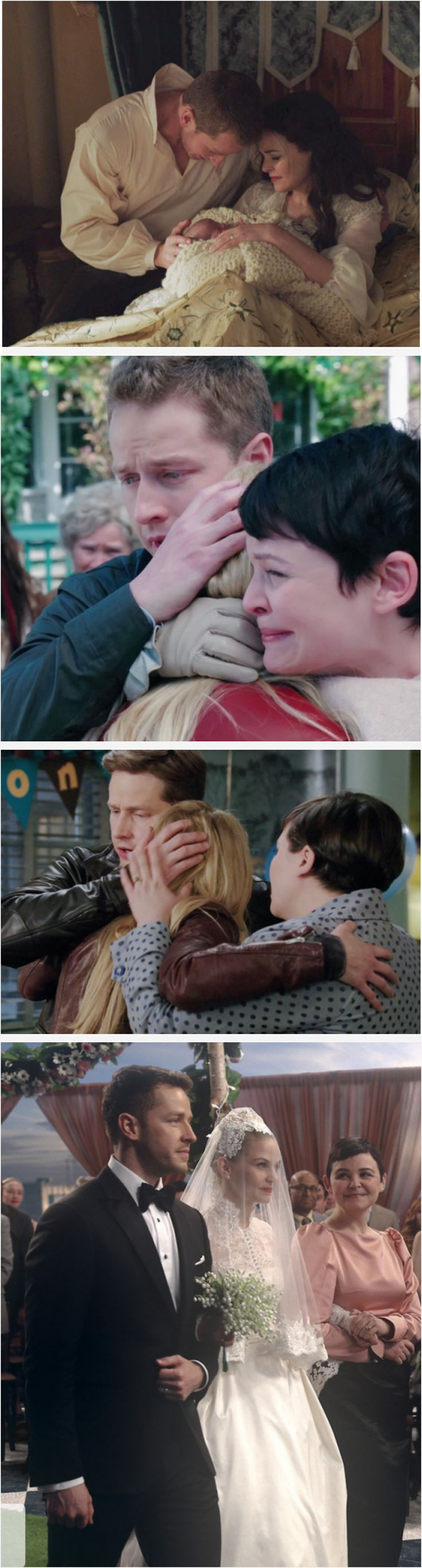 From being forced to give her up when she was a baby, to seeing and reuniting with their baby girl for the first time in 28 years, to the first time Emma realized that Charming and Snow were her parents and that they're home, to now them together as a family walking down the aisle ready to give their daughter away to her true love. What a beautiful family!