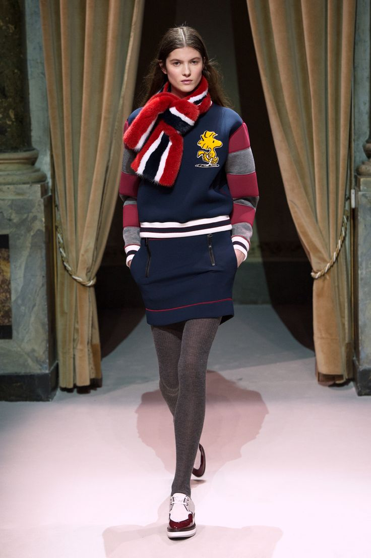 Look 1 from Fay Women's Fall - Winter 2014/15 collection seen on the catwalk.