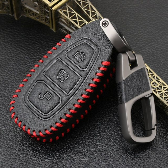 Genuine Leather Cover For Ford Fiesta Focus 3 4 Mondeo Ecosport Kuga Focus St Car Key Smart Remote Key Case Fob Review Ford Focus Accessories Genuine Leather Ford Fiesta